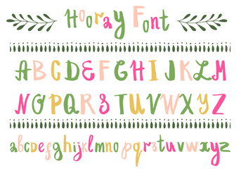 Hand drawn colorful font. Vector. Isolated.