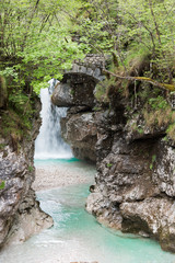 Tuinposter Bos rivier Waterfalls. Crystalline water. Mountain creek. Chiusaforte, Friuli