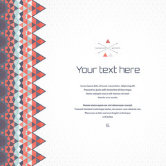 Abstract vector card. Multicolored triangles and grid. Border resembles a patchwork. Place for your text. Perfect for greetings, invitations, announcements or cover design.