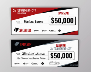 Template for event-winning check. Geometric background. Vector