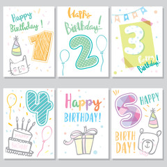 Birthday greeting and invitation card there are teddy bear gift boxes confetti cup cake