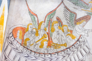 Heavenly orchestra playing, medieval gothic mural