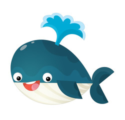 cartoon happy and funny sea shark spraying water / illustration for children