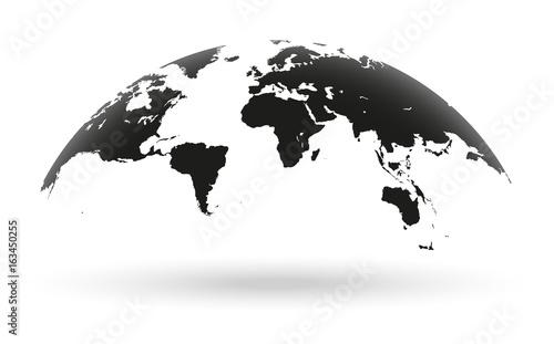 Black world map globe isolated on white background ...