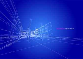 carpark structure architecture abstract drawing, 3d illustration vector
