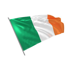Vector illustration of realistic  waving irish flag from mesh gradient