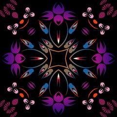 Abstract symmetrical vintage floral purple pink floral circular pattern, design Decor