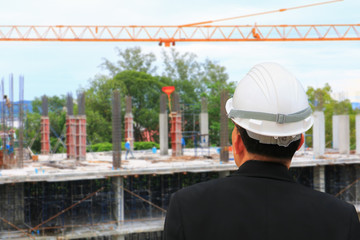 architect-engineer check work construction in building site develop