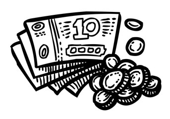 Cartoon image of Cash Icon. Money symbol. An artistic freehand picture.