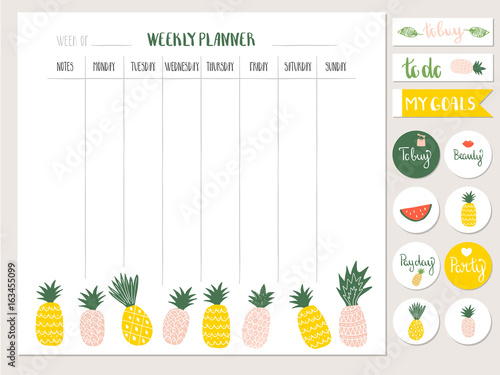 Weekly Planner Template With Cute Pineapples