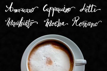 Coffe cup with name list calligraphy illustration on black background for cafe