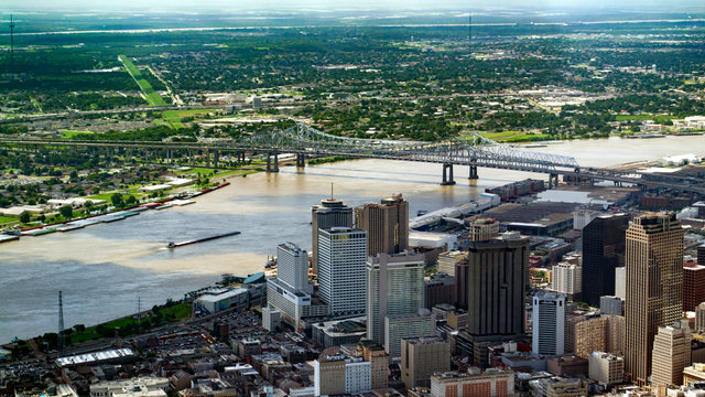 Aerial view of Downtown, New Orleans, Louisiana and Crescent City Connection Bridge
