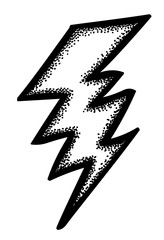 Cartoon image of Lightning Icon. Bolt symbol. An artistic freehand picture.