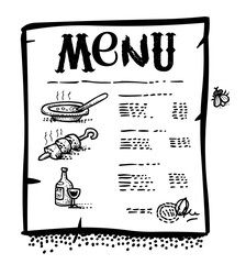 Cartoon image of Menu Icon. An artistic freehand picture.