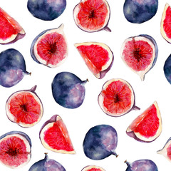 Fig fruit watercolor seamless pattern. Bright tropical fruit isolated on white background, hand-drawn design for background, wallpaper, textile, wrap and etc.