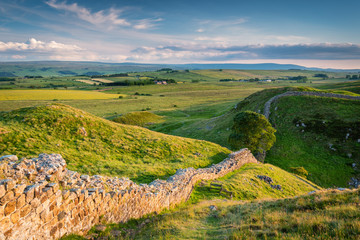 Hadrian's Wall above Steel Rigg / Hadrian's Wall is a World Heritage Site in the beautiful Northumberland National Park. Popular with walkers along the Hadrian's Wall Path and Pennine Way
