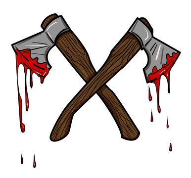 Cartoon image of bloody axe. An artistic freehand picture.