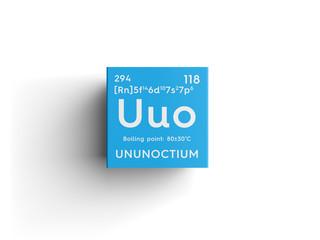 Ununoctium. Noble gases. Chemical Element of Mendeleev's Periodic Table. Ununoctium in square cube creative concept.