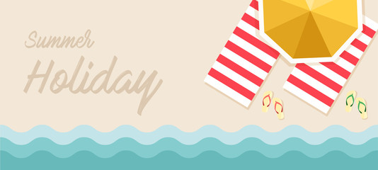 Summer holiday banner Vector Illustration, beach with waves, sun umbrellas, sandals and beach towels