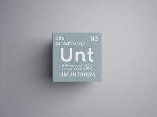 Ununtrium. Post-transition metals. Chemical Element of Mendeleev's Periodic Table. Ununtrium in square cube creative concept.