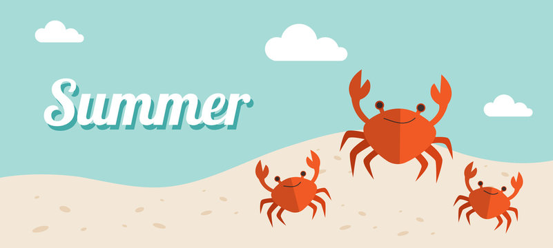 Summer holiday banner Vector Illustration, beach with waves, sand sky and crabs