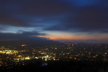 Sunrise twilight at suburban Los Angeles valley