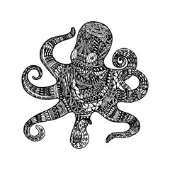 Isolated hand drawn black outline monochrome abstract ornate octopus on white background. Ornament of curve lines. Page of coloring book.