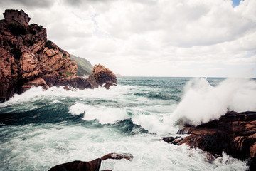 Violent Waves Splashing Against Corsica's Coast