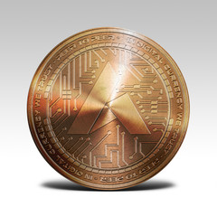 copper ardor coin isolated on white background 3d rendering