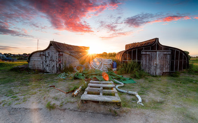 Fototapete - Sunset at Lindisfarne