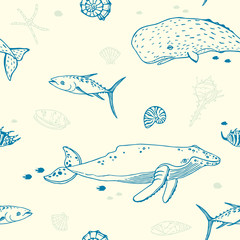 Seamless pattern with whale, fish and sea shell.