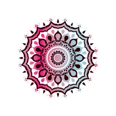 white background with brightness red wine and light blue brilliant flower mandala vintage decorative ornament vector illustration