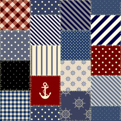 Seamless background pattern. Geometric patchwork pattern of a squares in nautical style.