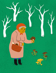 An old woman collecting mushrooms in a forest