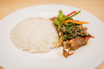 stir-fried meat and basil with rice, Thai food