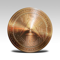 copper ark coin isolated on white background 3d rendering