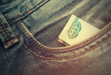 Russian rubles in jeans