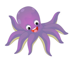 Cartoon happy and funny sea octopus swimming and looking - illustration for children