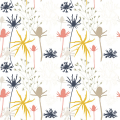Floral vector seamless pattern with cornflowers, thistles and grasses.