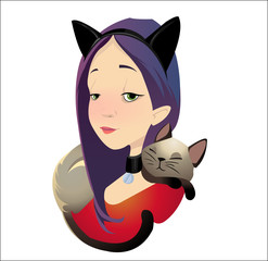 Digital vector funny cartoon purple red cat woman character with a cat lying and sleeping at the neck as neckerchief, abstract flat style