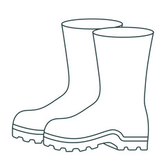 monochrome contour of fishing plastic boots accesory vector illustration