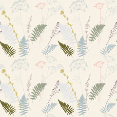 Vector floral seamless pattern with fern leaves, dill, chicory flowers and shepherd's purse plant .