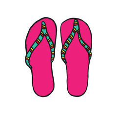 Pink flip-flops with green striped band, isolated hand drawn outline doodle, sketch in pop art style, color vector illustration