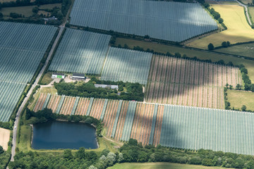 Vue aérienne de serres près d'Angers en France