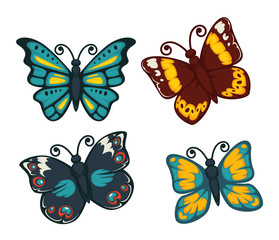 Butterflies colorful flat vector isolated icons set