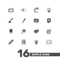 Set Of 16 Constructive Icons Set.Collection Of Scheme, Science, Brush And Other Elements.