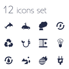 Set Of 12 Bio Icons Set.Collection Of Renewable, Warm, Nature And Other Elements.