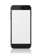 Modern smartphone with blank screen. Generic mobile smart phone on white background,