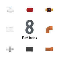 Flat Icon Sanitary Set Of Flange, Container, Cast And Other Vector Objects. Also Includes Iron, Tank, Industry Elements.