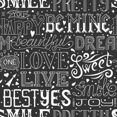 Seamless pattern with hand drawn words and phrases, calligraphic text. Vector background